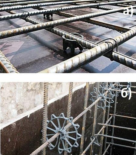 Установка фиксаторов для обеспечения защитного слоя бетона