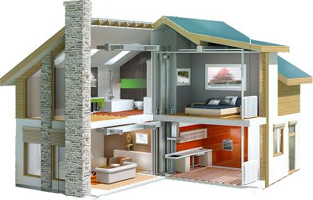 разрез двухэтажного дома