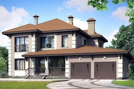 проект двухэтажного дома с гаражами